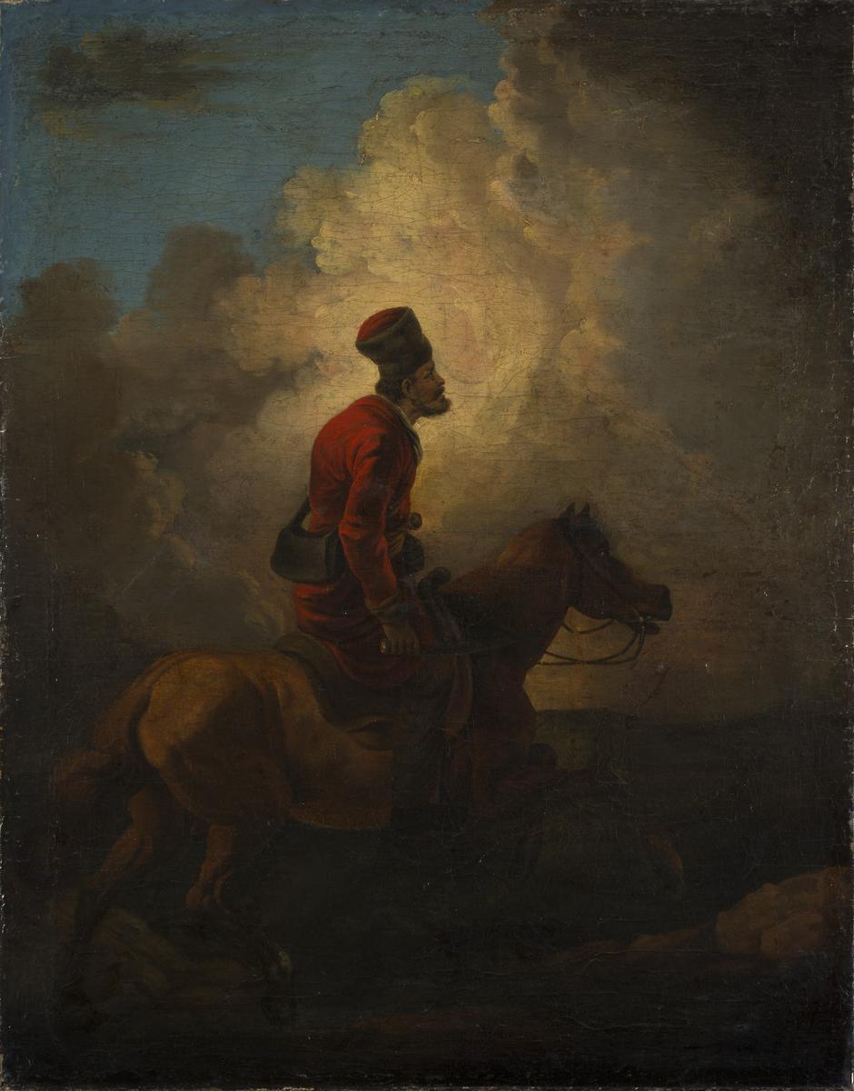 Aleksander Orłowski, sygnowany nieczytelnie (prawa strona u góry), Kozak na koniu, 1810 – 1820 r., olej , płótno, 91 cm x 72 cm