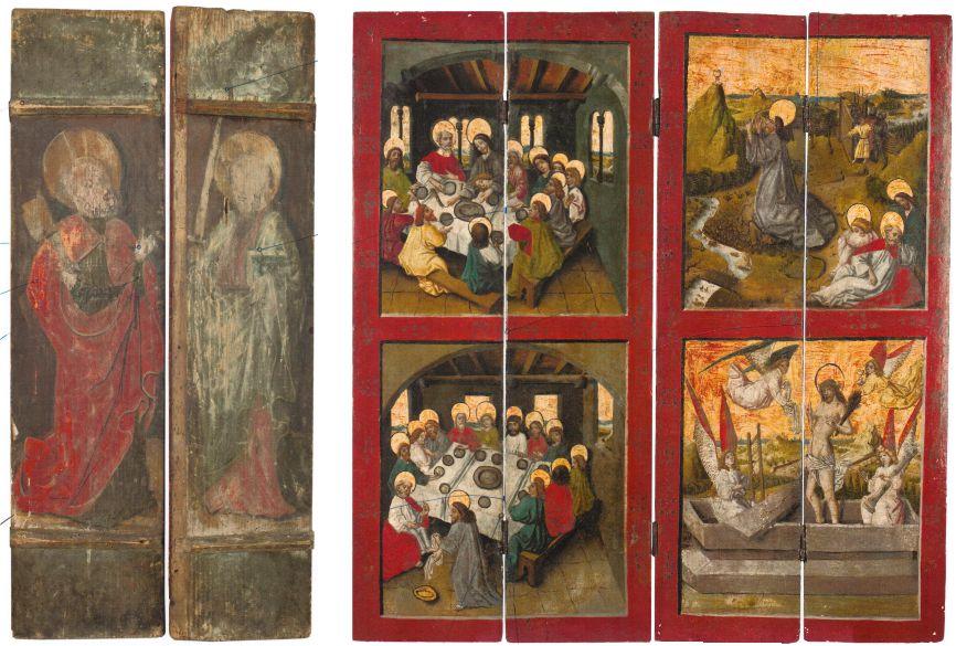 Ołtarzyk ze scenami pasyjnymi z Wądroża Wielkiego: zamknięty (Ś. Piotr po lewej, Św. Paweł po prawej); otwarty: (ostatnia wieczerza - LG, scena w Wieczerniku - LD, Chrystus na Górze Oliwnej - PG, zmartchwywstanie - PD), 88 cm x 84 cm